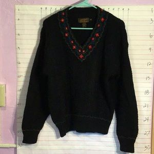 EDDIE BAUER women's wool sweater sz M/M  black